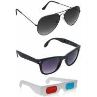 Foldable Black Wayfarer Sunglasses + Grey Aviator Sunglasses + Free 3D Glasses - 3 pcs/Pack